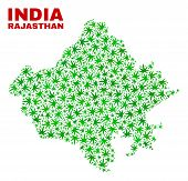 Vector Cannabis Rajasthan State Map Mosaic. Concept With Green Weed Leaves For Weed Legalize Campaig poster