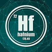 Hafnium Chemical Element. Sign With Atomic Number And Atomic Weight. Chemical Element Of Periodic Ta poster