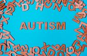 Word Autism From Wooden Letters On A Blue Background poster