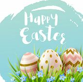 Decorative Easter Eggs, Blue Spring Flowers And Green Grass. Festive Background. Vector Illustration poster