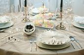 stock photo of wedding table decor  - Table setting for elegant wedding dinner - JPG