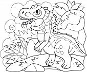 Cartoon Cute Prehistoric Dinosaur Allosaurus, Coloring Book, Funny Illustration poster