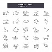 Agricultural Animals Line Icons. Editable Stroke Signs. Concept Icons: Agriculture, Fram, Livestock, poster