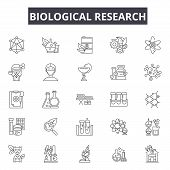 Biological Research Line Icons For Web And Mobile Design. Editable Stroke Signs. Biological Research poster