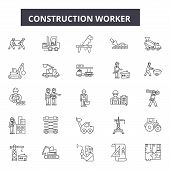 Construction Worker Line Icons For Web And Mobile Design. Editable Stroke Signs. Construction Worker poster