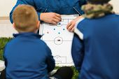 Football Coach Coaching Kids. Young Soccer Players Listening Coaches Tactics And Motivational Talk S poster
