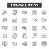 Firewall Line Icons For Web And Mobile Design. Editable Stroke Signs. Firewall  Outline Concept Illu poster