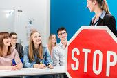 Driving instructor holding theoretical part of driving lessons with stop sign in her hand poster