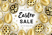Easter Sale Banner Concept Decorated With Realistic Shine Golden Eggs And  Gold Beads Isolated On Wh poster