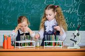 Something Incredible Is Waiting To Be Known. Small Students Studying. Little Pupils Studying Chemist poster