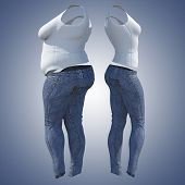 Conceptual fat overweight obese female jeans undershirt vs slim fit healthy body after weight loss o poster