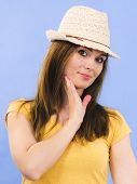 Joyful Happy Woman Ready For Summer, Young Adult Female Wearing Light Sun Hat On Head. Summertime Ou poster