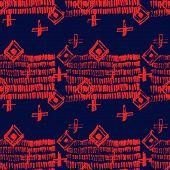 Tie Dye Japanese Geometric Autumn Seamless Pattern. Boho Tie Dye Paint Batik. Geo Wabi Sabi Traditio poster