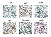Hand Drawn Icons Set And Elements Pattern. Digital Illustration, Games Doodles Elements, Sports Seam poster