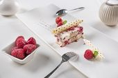 White Chocolate And Raspberries Terrine - Homemade Ice Cream With White Chocolate, Fresh Raspberries poster