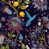 Jacobean Seamless Pattern. Flowers Background, Decorative Style. Stylized Climbing Flowers. Decorati poster