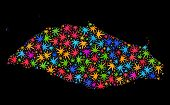 Bright Vector Cannabis Isla La Tortuga Map Collage On A Black Background. Template With Bright Weed  poster