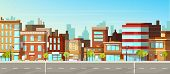 Modern Town Street Panoramic Flat Vector. Low-rise Houses With Brick Walls, Blank Signboards On Stor poster