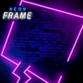 Neon Light Rectangular Banner. Vector Neon Light Frame Sign. Realistic Glowing Violet Neon Rectangul poster