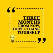 Inspirational Motivational Quote. Three Months From Now, Youll Thank Yourself. Vector Simple Design poster