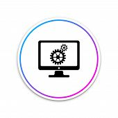 Monitor And Gears Icon Isolated On White Background. Monitor Service Concept. Adjusting App, Setting poster