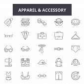 Apparel Accessory Stores Line Icons For Web And Mobile Design. Editable Stroke Signs. Apparel Access poster