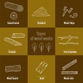 Line Style Icon Collection - Wood Waste Elements. Symbols Collection -  Sawed Wood, Sawdust, Wood Ch poster