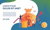 Capital Increasing Green Presentation Illustration. People Increase Money Capital And Profit.  Busin poster