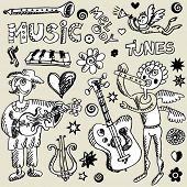 stock photo of lyre-flower  - musical doodle mix - JPG