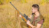 Hunting Hobby And Leisure. Man Charging Hunting Rifle. Hunting Equipment Concept. Hunter With Rifle  poster