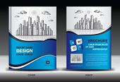 Blue Cover Template With City Landscape, Annual Report Cover Design, Business Brochure Flyer Templat poster