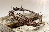 Jesus Crown Of Thorns And Cross On Sand. Vintage Retro Style. poster