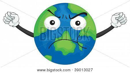 Постер, плакат: Иллюстрация планеты Земля на белом фоне, холст на подрамнике