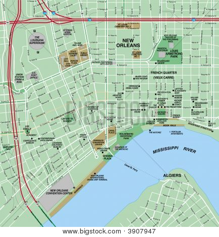 new orleans louisiana downtown local street map poster