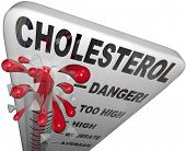 A thermometer measuring the level of cholesterol in your blood to give an indicator for your risk of