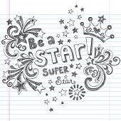 Princess Tiara Crown Vector- Be A Star Back to School Sketchy Notebook Doodles- Vector Illustration