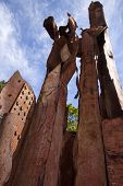 MORRIS PLAINS, NJ-SEPT 11: A low angle view within the 911 memorial of steel salvaged from the World