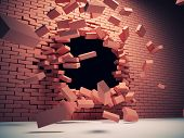 pic of collapse  - Destruction of brick wall - JPG
