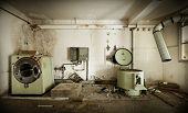 stock photo of laundry  - abandoned building - JPG