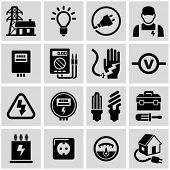 stock photo of electric socket  - Electricity icons - JPG