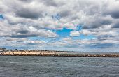 stock photo of inlet  - Wide angle photo of the New Jersey Shore - JPG