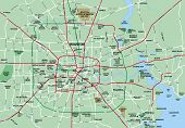picture of texas map  - Houston Metropolitan Area map showing major roads ciites airports and parks - JPG