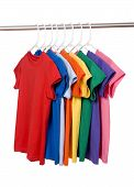 picture of clothes hanger  - A row of colorful row t - JPG