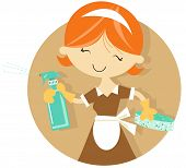 image of maids  - Fun cleaning woman character illustration - JPG
