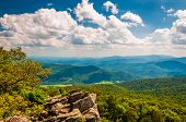 stock photo of virginia  - View of the Blue Ridge Mountains from North Marshall in Shenandoah National Park Virginia - JPG