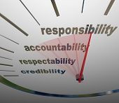 image of responsible  - A guage or speedometer measuring your increasing or improving level of Responsibility - JPG