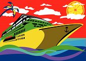 image of cruise ship  - Abstract vector illustration of a cruise ship with a palm clouds above it and a lemon instead of the sun - JPG