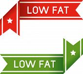 pic of food label  - Low fat food label corner sticker for use on product websites print materials or packaging - JPG