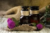 stock photo of scottish thistle  - Medicine bottles with thistle flowers - JPG