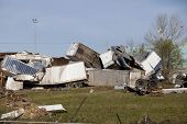stock photo of 18 wheeler  - Tornado leaves trail of death destruction fast moving storms hit almost without warning - JPG